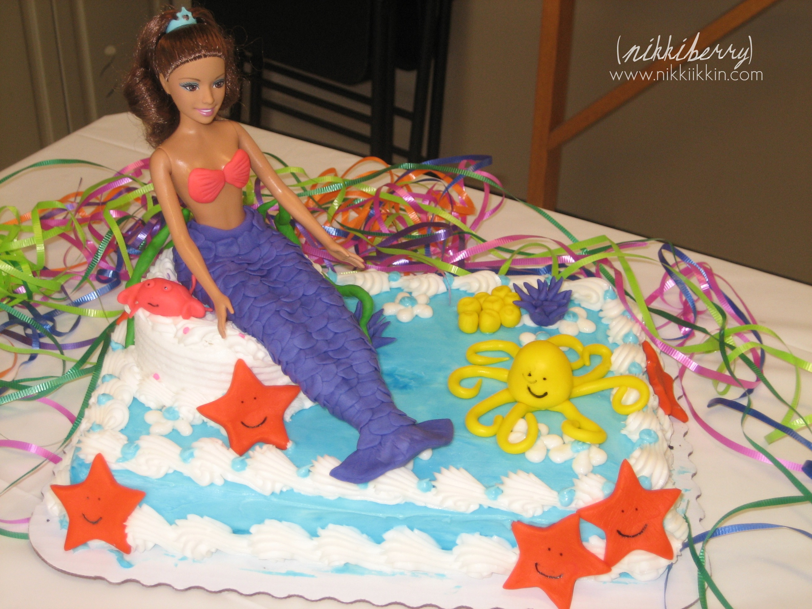 Under the Sea Birthday Party Invites + Mermaid Barbie Cakes