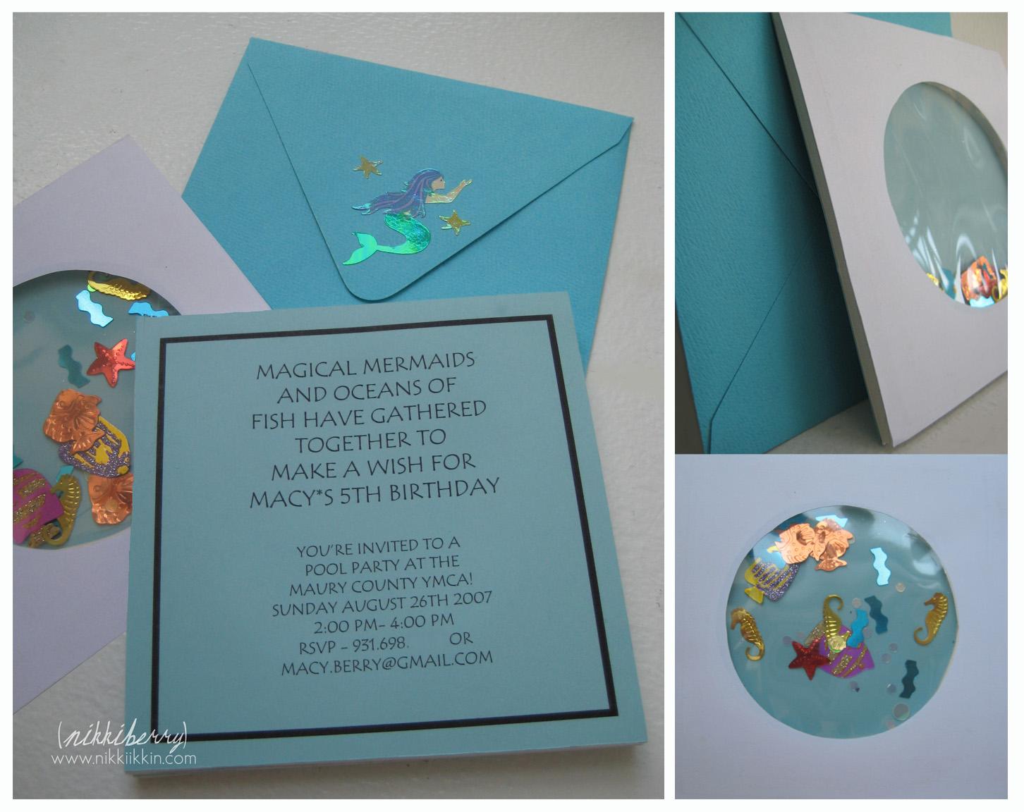 Under the Sea Birthday Party Invites + Mermaid Barbie Cakes