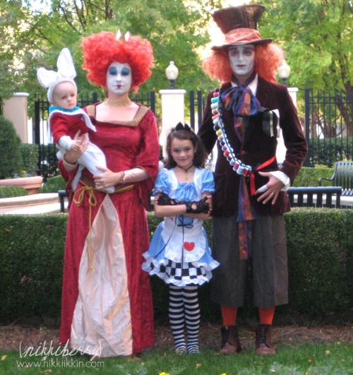 Wonderland Family Costumes - Alice, White Rabbit, Red Queen & Madhatter