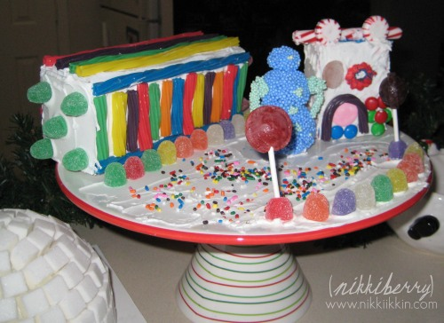 Candy houses arranged on a cakeplate