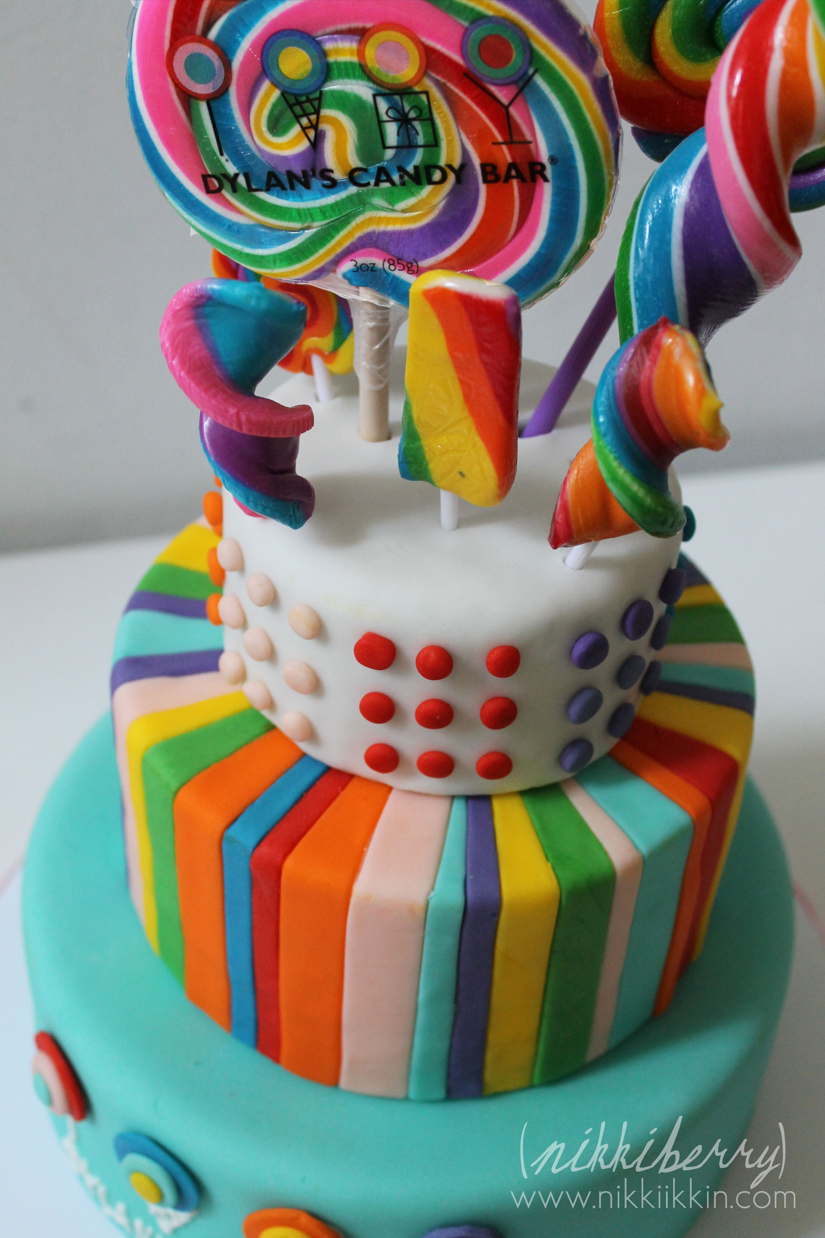 Candy Party Cake And Invitations