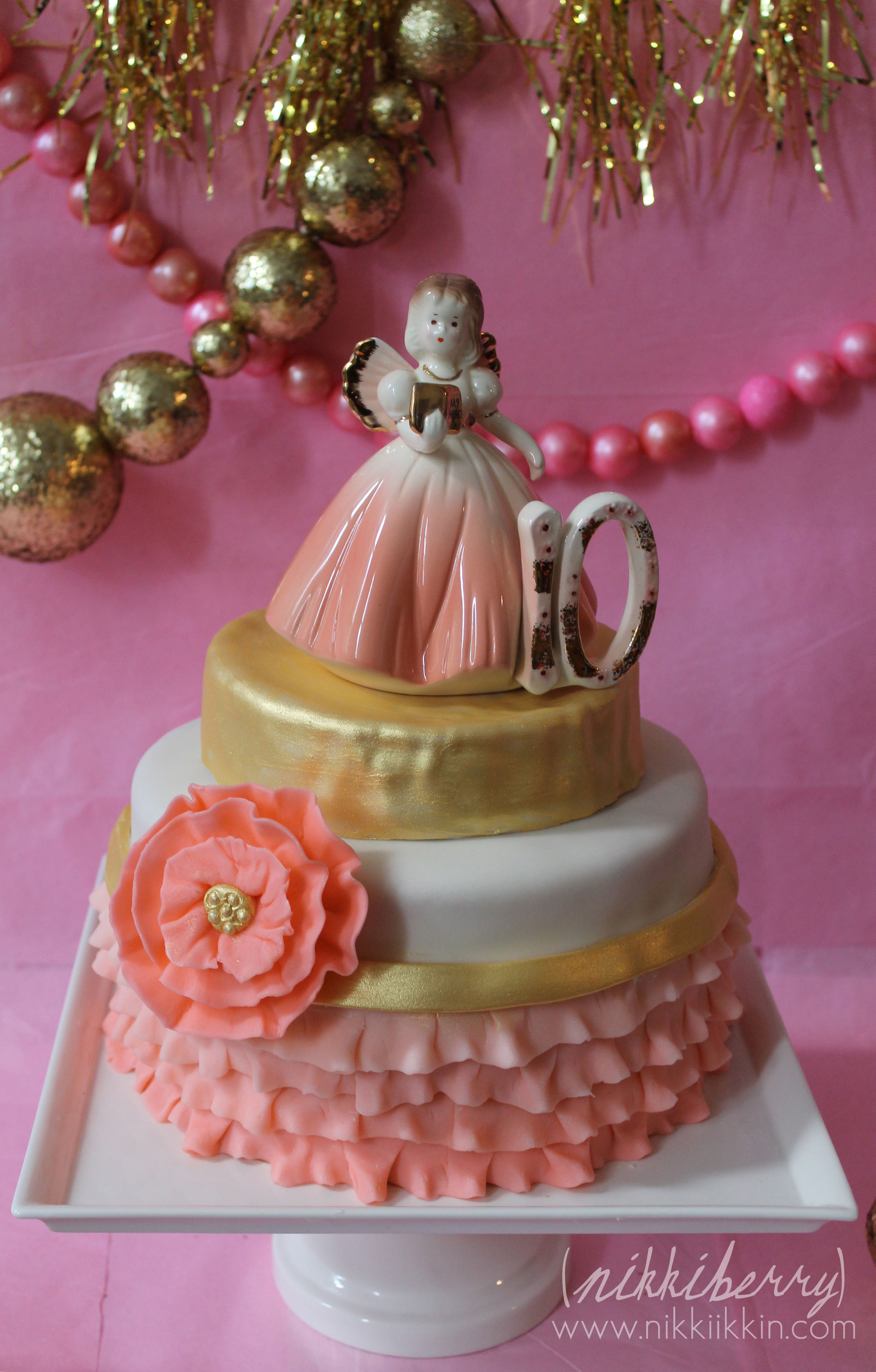 Pink Amp Gold Cake And Backdrop