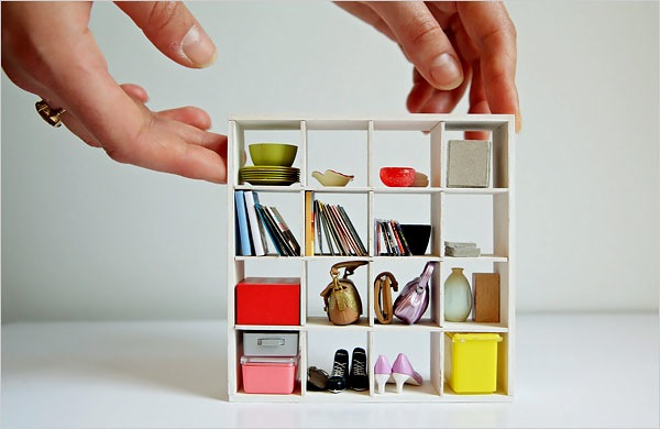 ... New York Times Modern Miniature Dollhouse Ikea Bookshelf